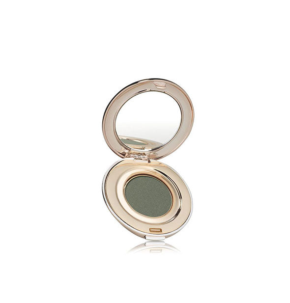 Open compact of Jane Iredale PurePressed Eye Shadow in the shade Forest.