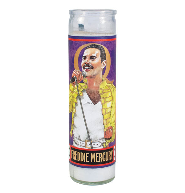 Prayer-style candle with an image of Freddie Mercury