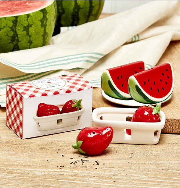 Strawberry and watermelon salt and pepper shaker sets
