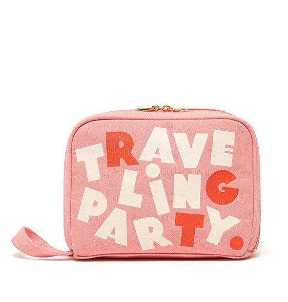Pink with White and Red Text Traveling Party Toiletries Bag