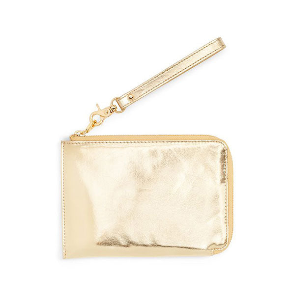 Metallic gold zip pouch with wristlet strap