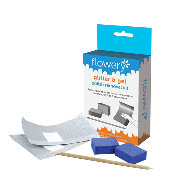 Flowery Glitter & Gel Polish Removal Kit with foil, buffing blocks, and birchwood stick shown