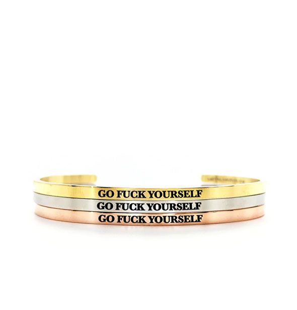 metal bracelets go fuck yourself in gold silver and rose gold