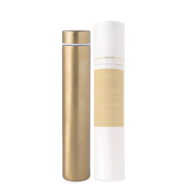 A gold-toned slim cylindrical bottle flask with lid.
