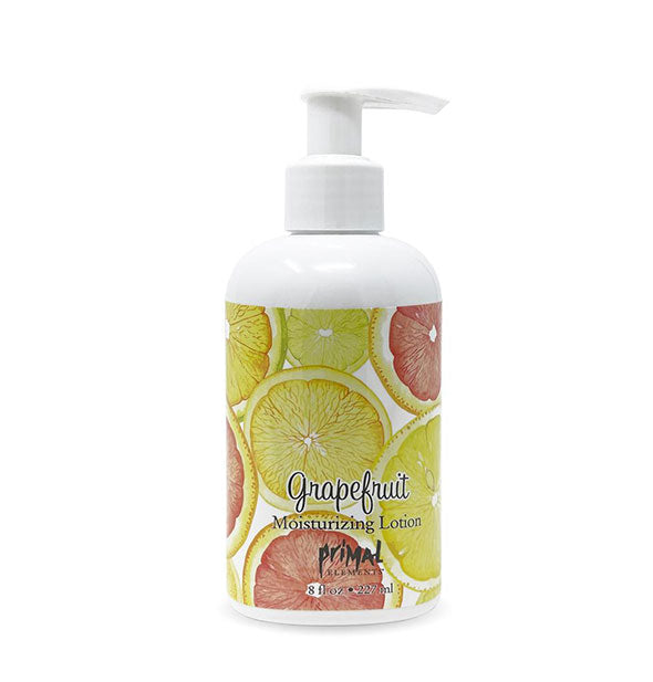 8 ounce bottle of Grapefruit Moisturizing Lotion with pump nozzle