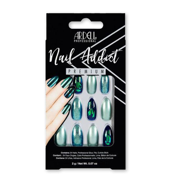 A pack of Ardell Professional Nail Addict Premium press-on nails shown in iridescent green varieties.