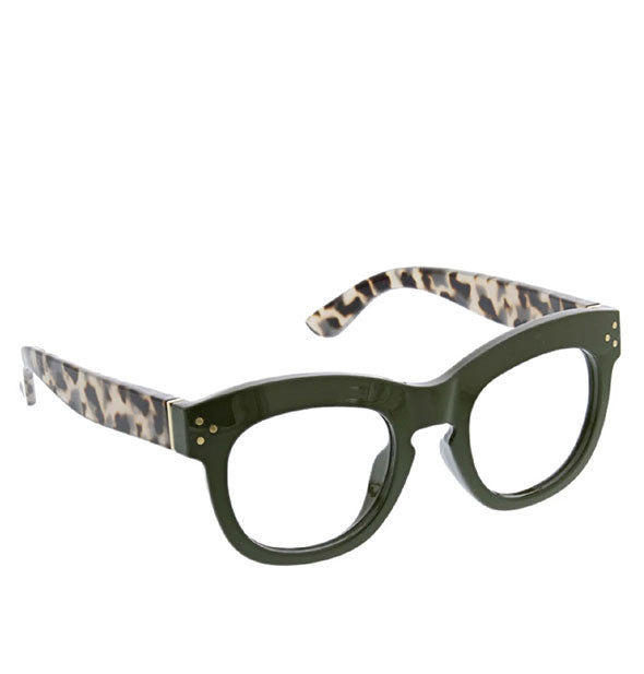 Peepers Bravado Readers shown in Green & Grey Tortoise color scheme.