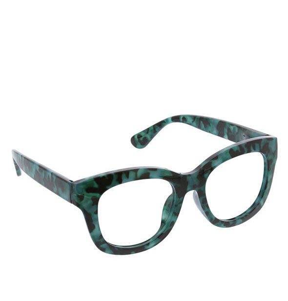 Reading glasses with green tortoise frame