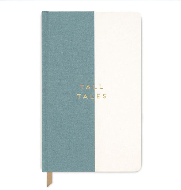 "Journal cover half in seafoam green, half in white, printed with the words ""Tall Tales"" and showing partial ribbon place marker"