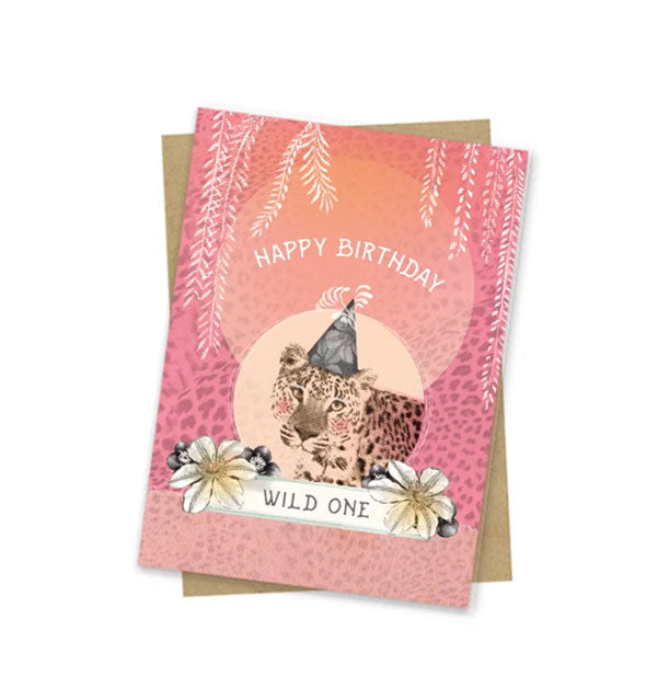 Happy Birthday Wild One with Leopard Wearing a Party Hat Small Card