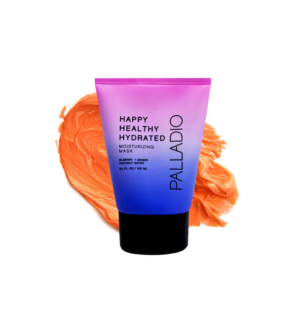 A 3.5-ounce tube bottle of Palladio Happy Healthy Hydrated Moisturizing Mask with a textural sample of product in the background.