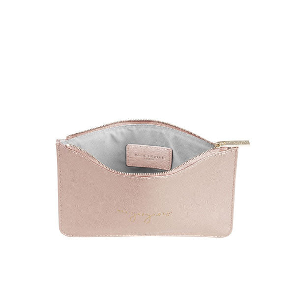metallic rose gold coin purse with hey gorgeous