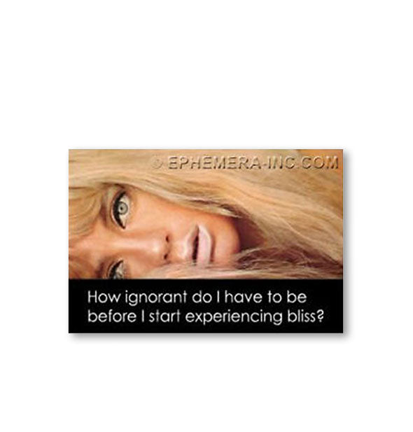 "A bewildered-looking woman is pictured above the caption, ""How ignorant do I have to be before I start experiencing bliss?"""