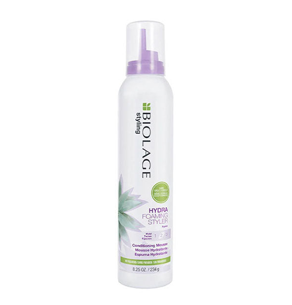 White 8.25-ounce can of Biolage Hydra Foaming Styler Conditioning Mousse with purple and green design accents.