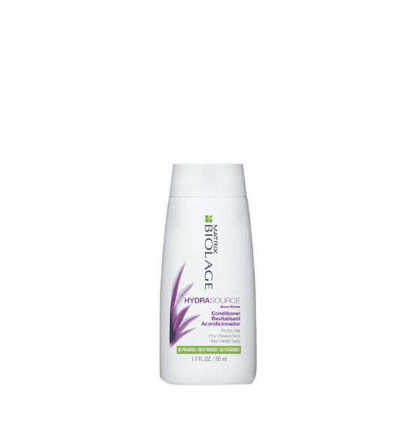 White 1.7-ounce bottle of Matrix Biolage HydraSource Conditioner with purple and green design accents.