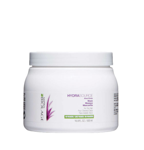 White 16.9-ounce tub of Matrix Biolage HydraSource Mask with purple and green design accents.