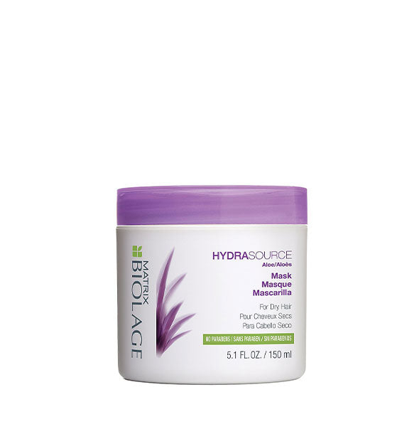 White 5.1-ounce tub of Matrix Biolage HydraSource Mask with purple and green design accents.