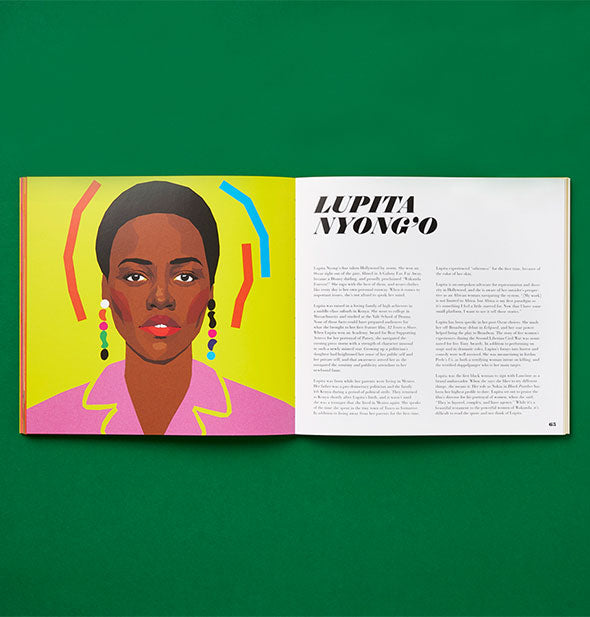 Page spread of Icons: 50 Heroines Who Shaped Contemporary Culture with illustrated portrait of Lupita Nyong'o