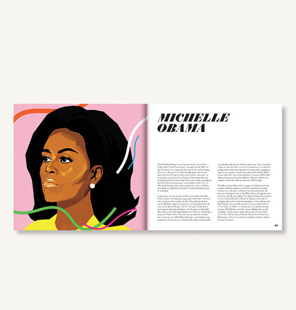 Page spread of Icons: 50 Heroines Who Shaped Contemporary Culture with illustrated portrait of Michelle Obama