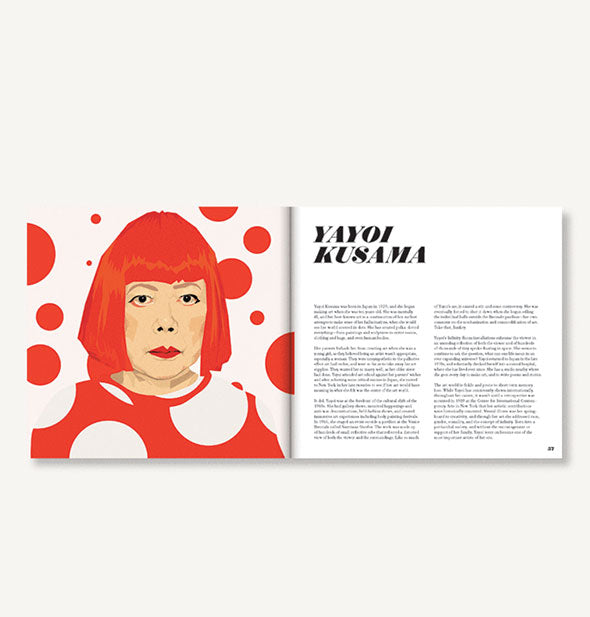 Page spread of Icons: 50 Heroines Who Shaped Contemporary Culture with illustrated portrait of Yayoi Kusama