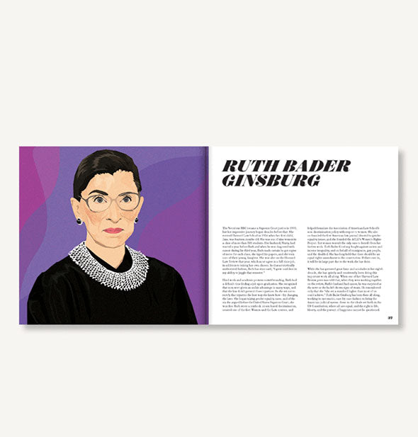 Page spread of Icons: 50 Heroines Who Shaped Contemporary Culture with illustrated portrait of Ruth Bader Ginsburg