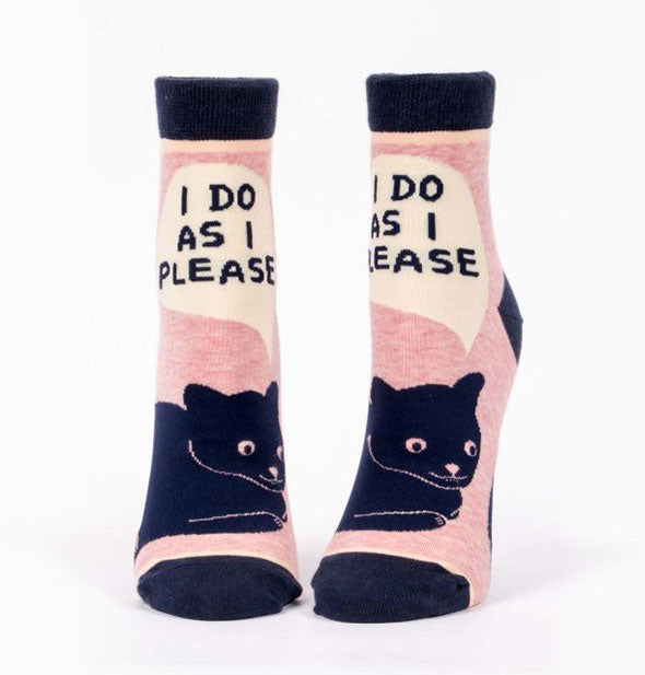 Pink with Black Cats I Do As I Please Ankle Socks