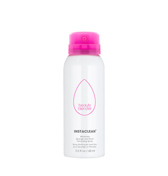 Pink and white bottle of BeautyBlender InstaClean