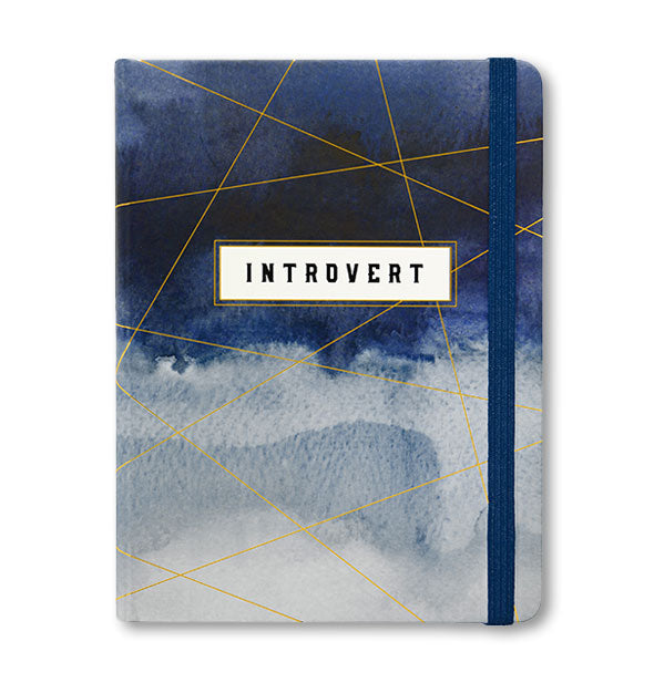 Cover of the Introvert journal with blue watercolor design with gold accents and a blue elastic band