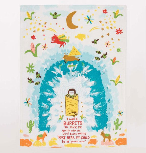 Decorative, whimsical burrito-themed illustrated dish towel