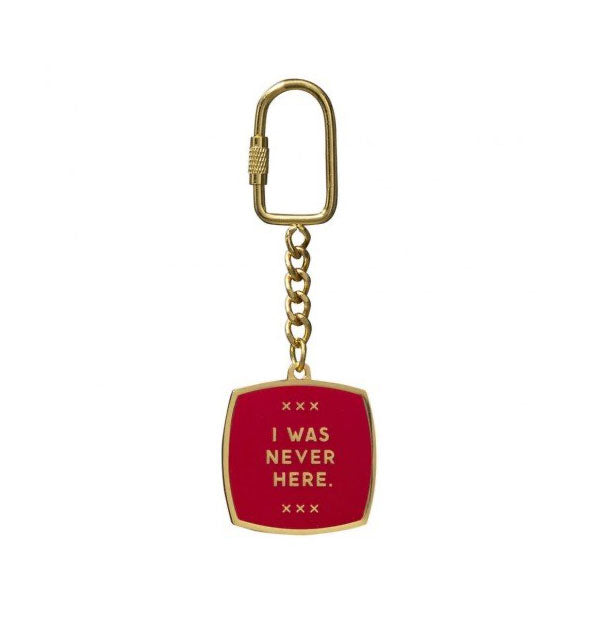 Red with gold I Was Never Here Keychain