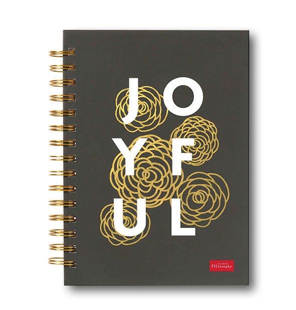 Dark gray Joyful journal with metallic gold floral design and gold spiral binding