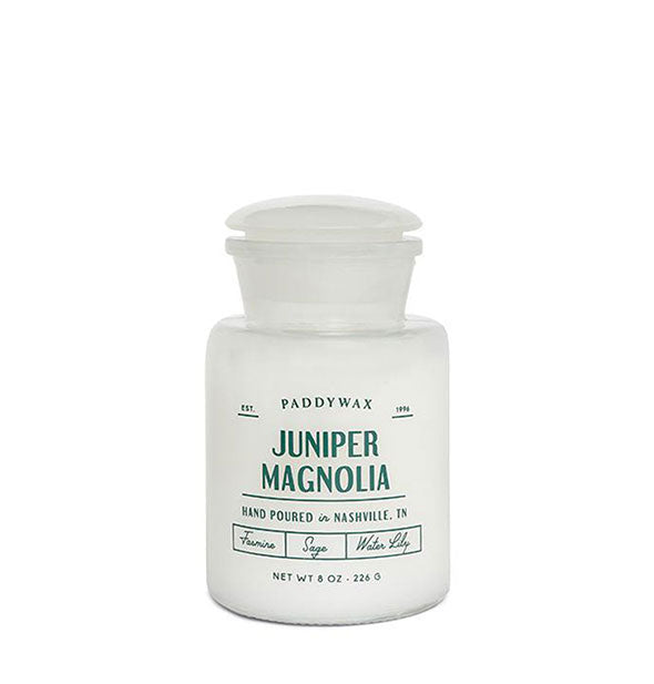 An 8-ounce Juniper Magnolia Farmhouse Candle by Paddywax.