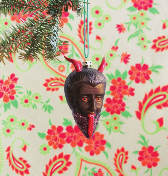 Devil tree ornament with tongue sticking out