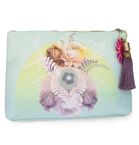 Large aqua pouch with floral design and purple tassel