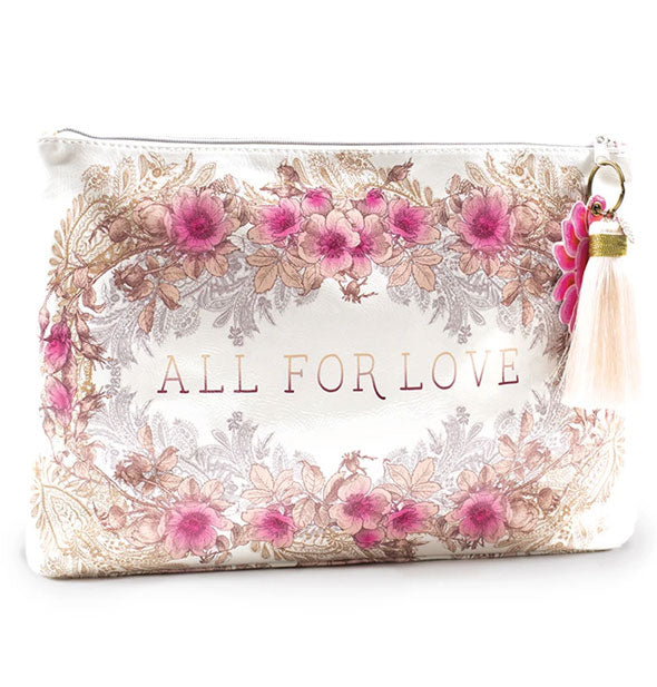 Large pink floral All for Love Tassel Pouch