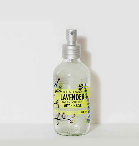 A bottle of Shea Brand Lavender Witch Hazel Natural Astringent for face, hair, and body.