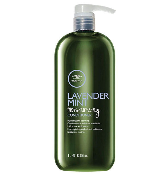 33.8 ounce bottle of Paul Mitchell Tea Tree Lavender Mint Moisturizing Conditioner with pump nozzle