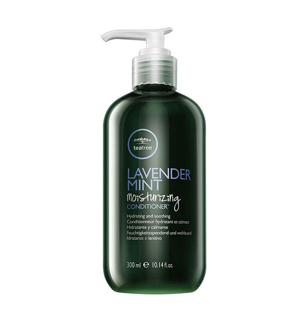 10.14 ounce bottle of Paul Mitchell Tea Tree Lavender Mint Moisturizing Conditioner with pump nozzle