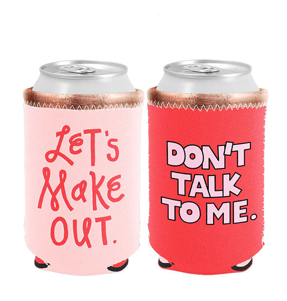 Pink and red can koozies with metallic bronze borders