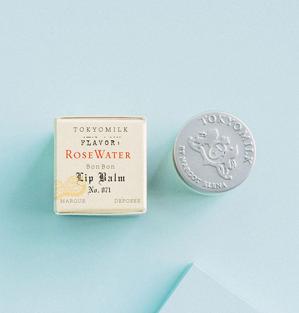 The paper packaging and jar of Rose Water Bon Bon Lip Balm