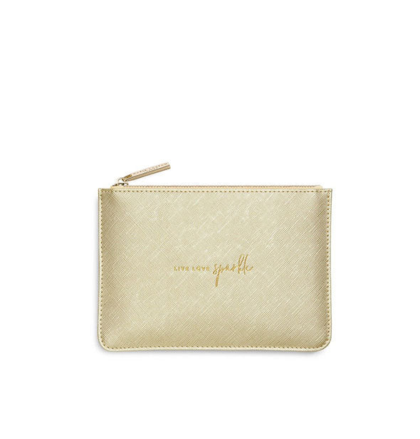 Metallic gold zip gold pouch with text Live Love Sparkle