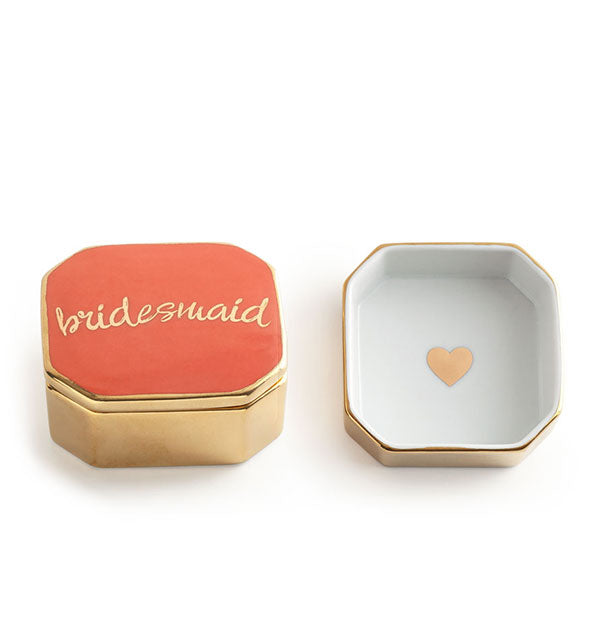 Coral, white, and gold porcelain Bridesmaid box
