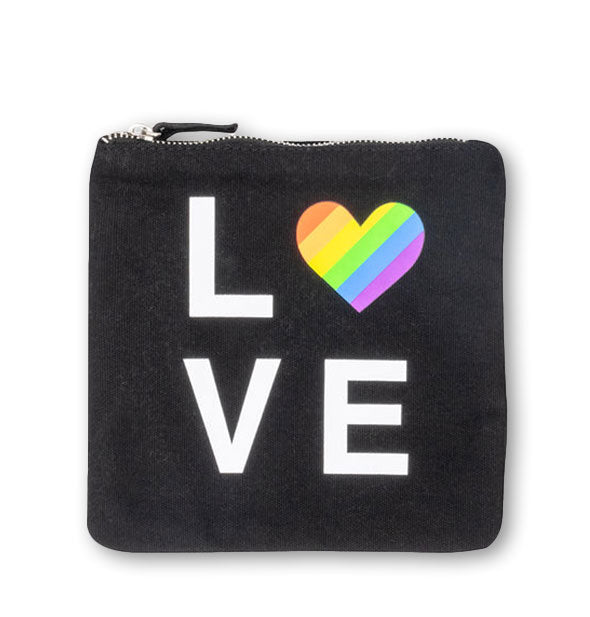 Square black LOVE zipper pouch with rainbow heart detail