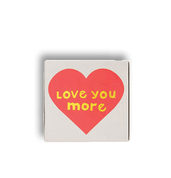 Love You More square matchbox with heart design