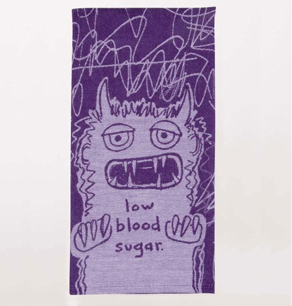 Purple Monster Low Blood Sugar  Dish Towel
