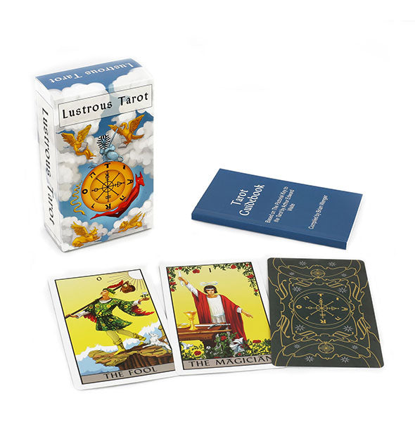 Samples of the Lustrous Tarot deck with Tarot Guidebook shown