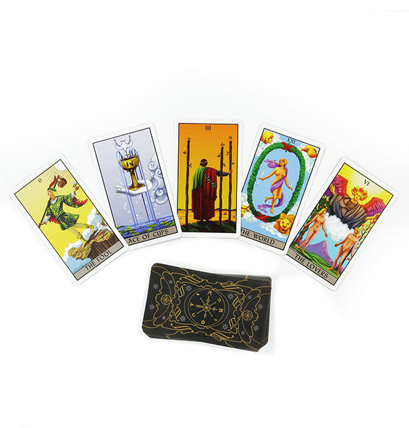 Sample spread of full-color tarot cards