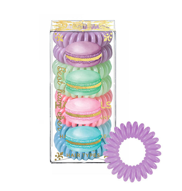 8 Hair Coils tangle free telephone like cords in Pastel Colors
