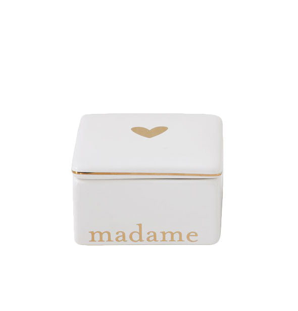 White and gold Madame box with gold lettering details