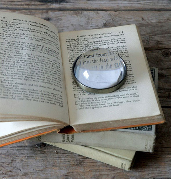 Round magnifying glass sits in the open pages of a book
